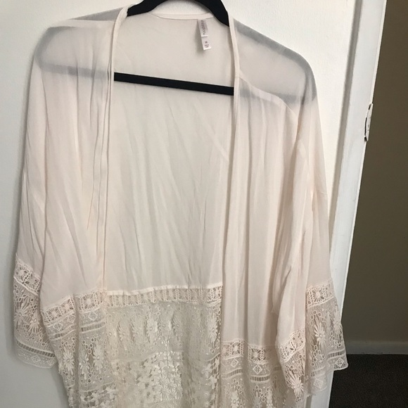 Xhilaration Sweaters - Target Off-White kimono with fringes